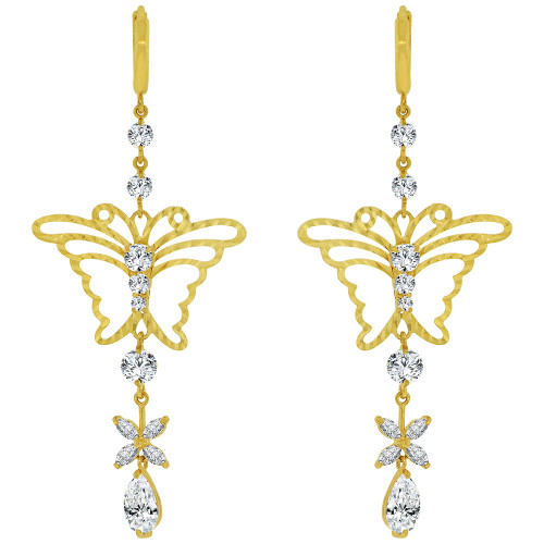14k Yellow Gold, Fancy Butterfly Design Drop Large Earring Created CZ Crystals (E028-013)