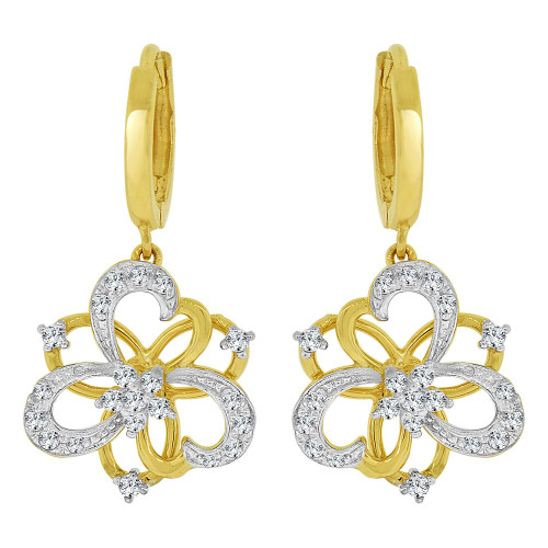14k Yellow Gold White Rhodium, Modern Hearts Flower Dangling Earring Created CZ Crystals (E028-014)
