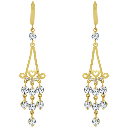 14k Yellow Gold, Dangling Chandelier Earring Created CZ Crystals (E028-017)