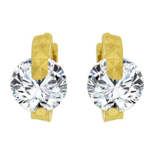 14k Yellow Gold, Mini Hoop Stud Earring Round Brilliant Created CZ Crystals (E028-022)