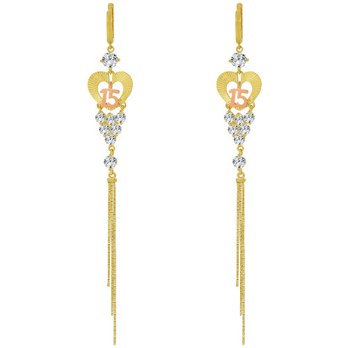 14k Yellow & Rose Gold, Quinceanera 15 Anos Dangling Drop Earring Created CZ Crystals (E028-023)