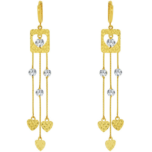 14k Yellow Gold, Long Drop Earring Hearts and Created CZ Crystals. (E028-024)