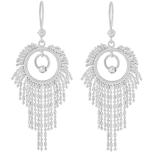 14k Gold White Rhodium, Chandelier Dangling Earring Sparkly Beads (E028-053)