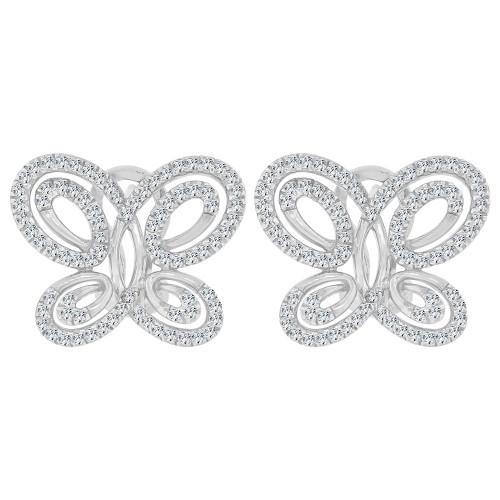 14k Gold White Rhodium, Fancy Modern Butterfly Design Earring Created CZ Crystals (E028-054)
