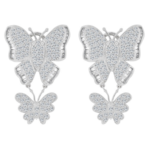 14k Gold White Rhodium, Large Fancy Dangling Butterfly Earring Created CZ Crystals (E028-055)