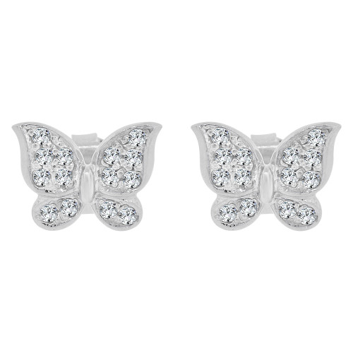 14k Gold White Rhodium, Whimsical Modern Butterfly Design Stud Earring Created CZ Crystals (E028-056)