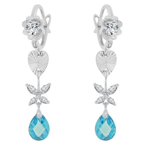 14k Gold White Rhodium, Drop Earring Hearts Flowers Created Aqua Blue CZ Crystals (E028-060)