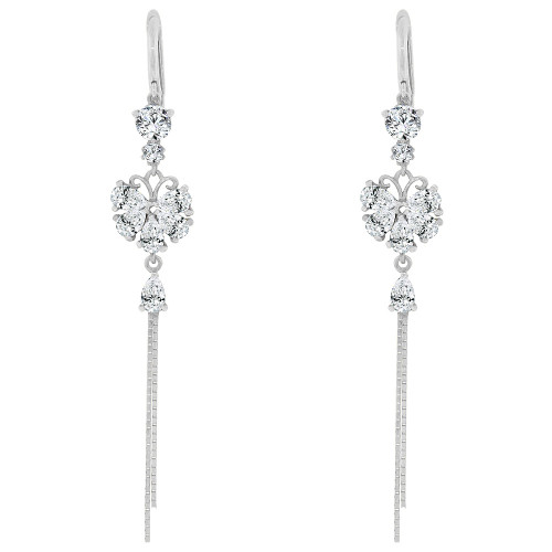 14k Gold White Rhodium, Long Drop Earring Flower Sparkly Created CZ Crystals (E028-061)