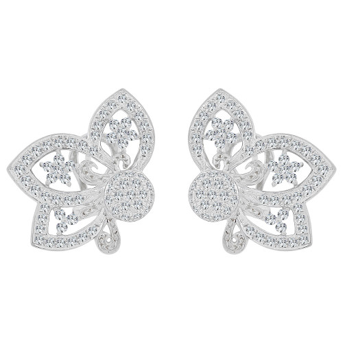 14k Gold White Rhodium, Fancy Bow & Lace Design Large Earring Created CZ Crystals (E028-062)