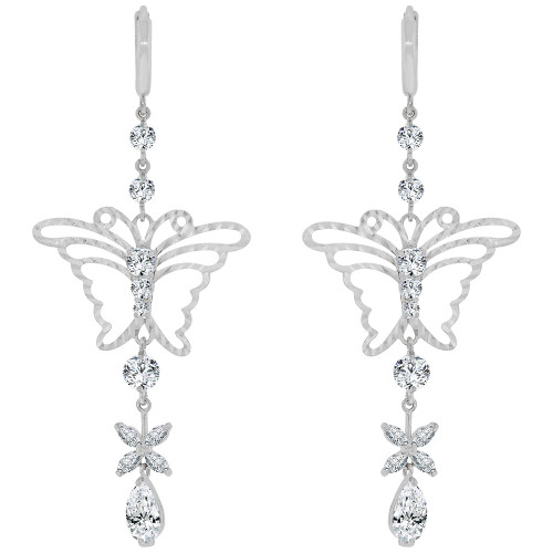 14k Gold White Rhodium, Fancy Butterfly Design Drop Large Earring Created CZ Crystals (E028-063)
