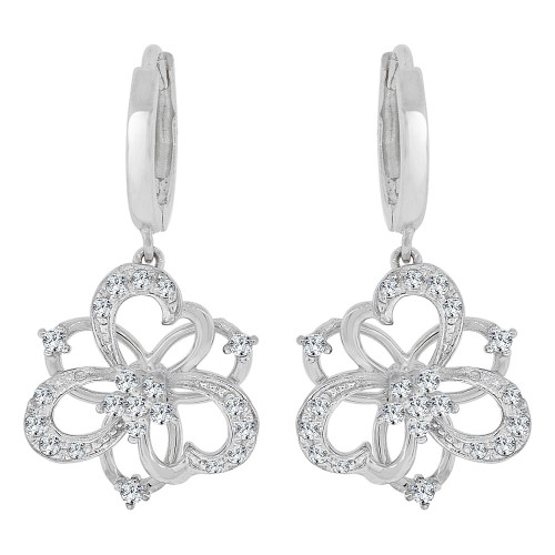 14k Gold White Rhodium, Modern Abstract Hearts in Flower Dangling Earring Created CZ Crystals (E028-064)