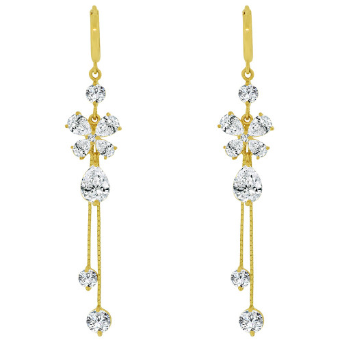 14k Yellow Gold, Long Large Drop Earring Sparkling Created CZ Crystals (E028-065)
