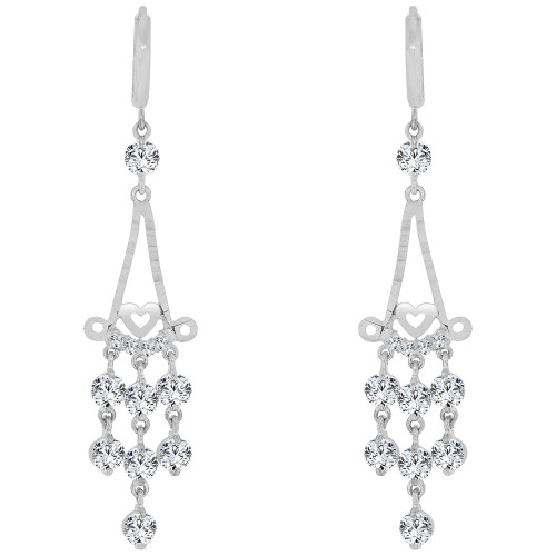 14k Gold White Rhodium, Dangling Chandelier Earring Created CZ Crystals (E028-067)