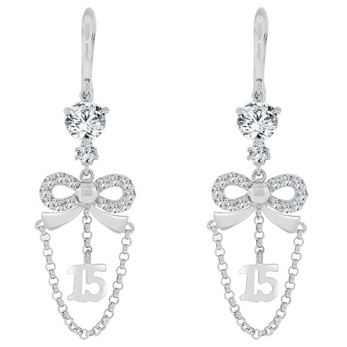 14k Gold White Rhodium, Quinceanera 15 Anos Dangling Drop Earring Created CZ Crystals (E028-068)