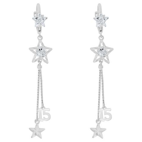 14k Gold White Rhodium, Quinceanera 15 Anos Dangling Drop Earring Created CZ Crystals (E028-070)