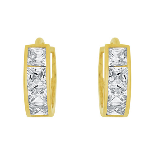 14k Yellow Gold, Small Hoop Huggies Earring Princess Cut Created CZ Crystals 8mm (E029-004)