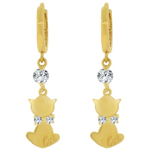 14k Yellow Gold, Kitty Cat Dangling Earring Created CZ Crystals (E029-018)