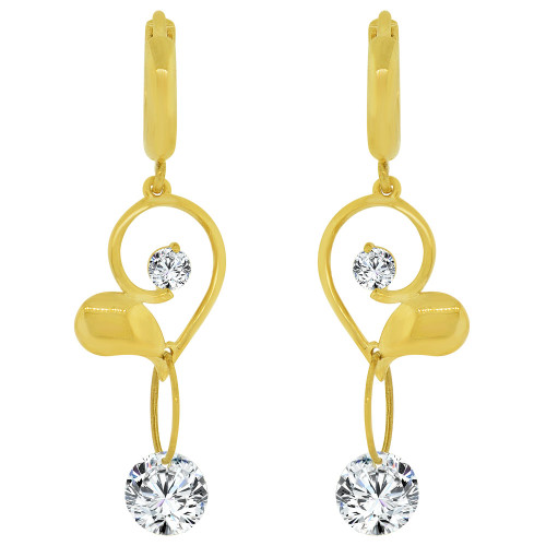 14k Yellow Gold, Modern Heart Design Earring Brilliant Created CZ Crystals. (E029-021)
