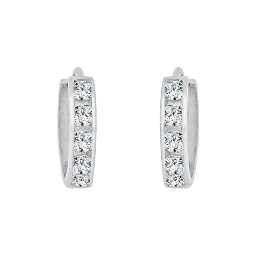 14k Gold White Rhodium, Mini Hoop Huggies Earring Created CZ Crystals 8mm (E029-051)