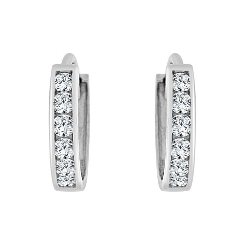 14k Gold White Rhodium, Mini Hoop Huggies Earring Created CZ Crystals 9mm (E029-052)