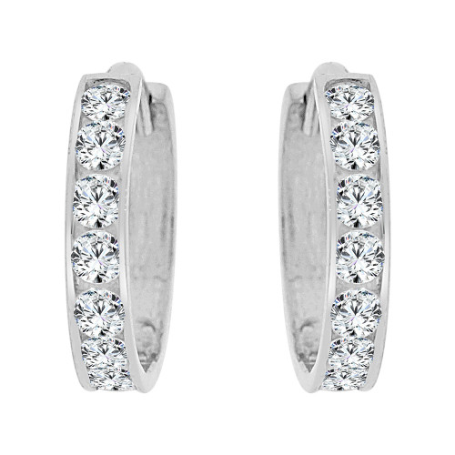 14k Gold White Rhodium, Small Hoop Huggies Earring Created CZ Crystals 12mm (E029-053)