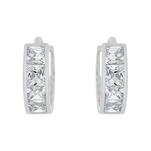 14k Gold White Rhodium, Small Hoop Huggies Earring Princess Cut Created CZ Crystals 8mm (E029-054)