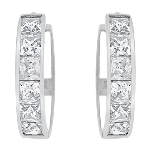 14k Gold White Rhodium, Hoop Huggies Earring Princess Cut Created CZ Crystals 14mm (E029-055)