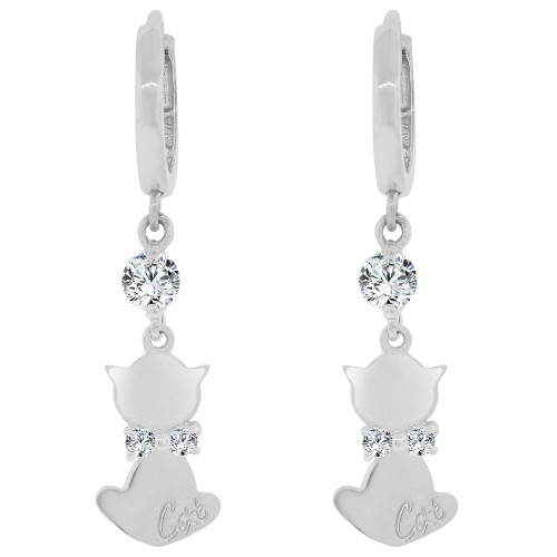 14k Gold White Rhodium, Cat Dangling Earring Created CZ Crystals (E029-068)
