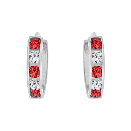 14k Gold White Rhodium, Mini Hoop Earring Red and White Created CZ Crystals (E029-157)