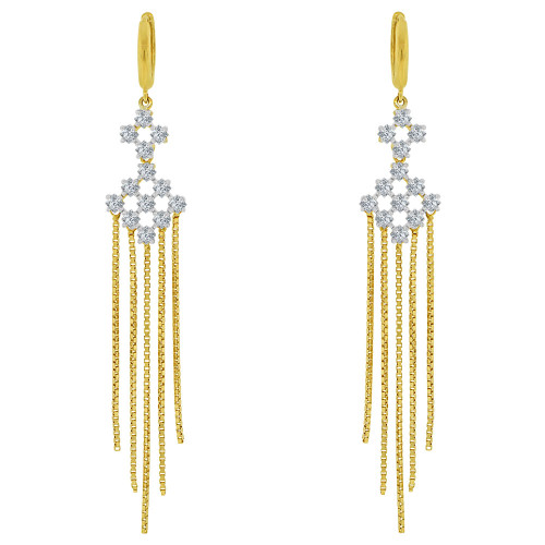 14k Yellow Gold, Long Dangling Chandelier Earring Created CZ Crystals (E030-004)