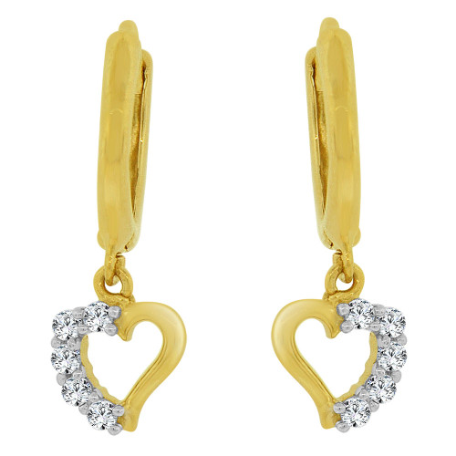 14k Yellow Gold White Rhodium, Dangling Whimsical Heart Earring Created CZ Crystals (E030-008)