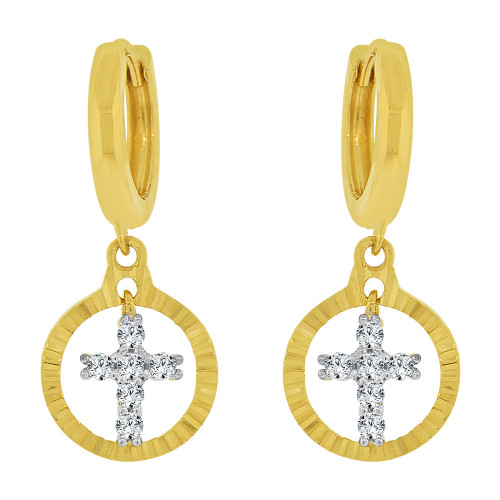 14k Yellow Gold White Rhodium, Dangling Religious Cross Earring Created CZ Crystals (E030-012)