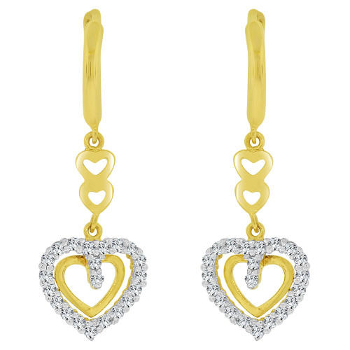 14k Yellow Gold, Dangling Whimsical Heart Earring Created CZ Crystals (E030-015)