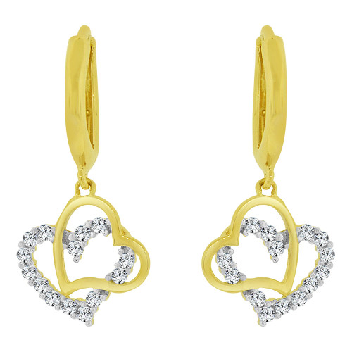 14k Yellow Gold, Dangling Whimsical Double Heart Earring Created CZ Crystals (E030-018)