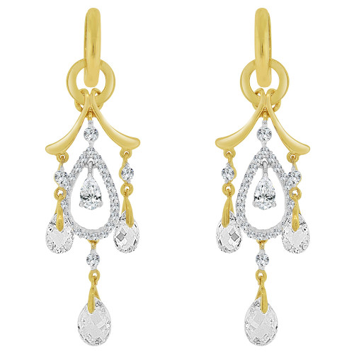 14k Yellow Gold White Rhodium, Fancy Chandelier Dangling Earring Brilliant Created CZ Crystals (E030-022)
