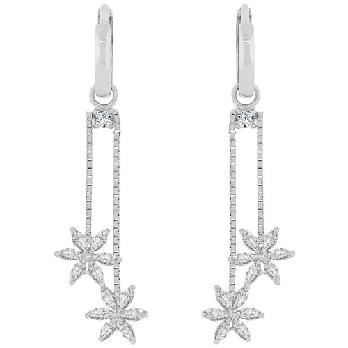 14k Gold White Rhodium, Dangling Flower Design Earring Created CZ Crystals (E030-055)