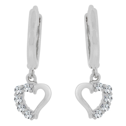 14k Gold White Rhodium, Dangling Whimsical Heart Earring Created CZ Crystals (E030-058)