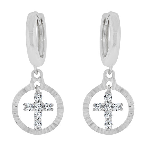 14k Gold White Rhodium, Dangling Religious Cross Earring Created CZ Crystals (E030-062)