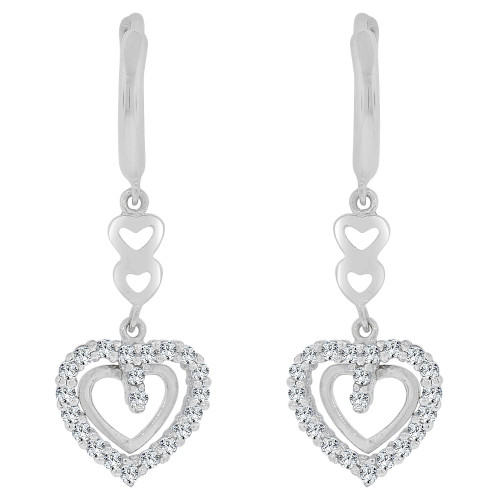 14k Gold White Rhodium, Dangling Whimsical Heart Earring Created CZ Crystals (E030-065)