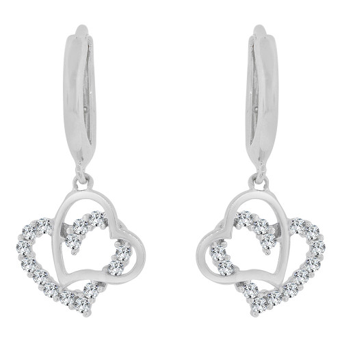 14k Gold White Rhodium, Dangling Whimsical Double Heart Earring Created CZ Crystals (E030-068)