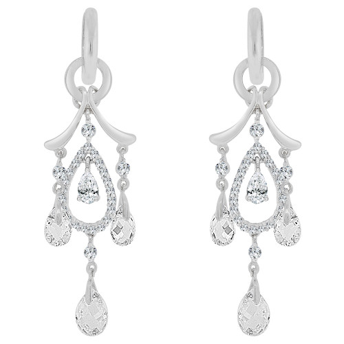 14k Gold White Rhodium, Fancy Chandelier Dangling Earring Brilliant Created CZ Crystals (E030-072)
