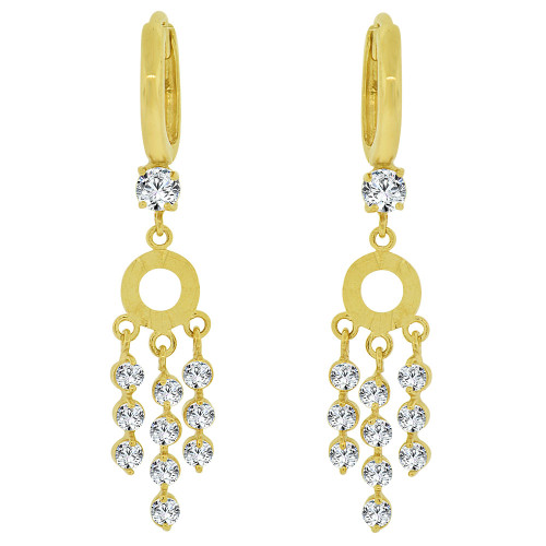 14k Yellow Gold, Dangling Strands of Gold and Stones Earring Created CZ Crystals (E031-002)