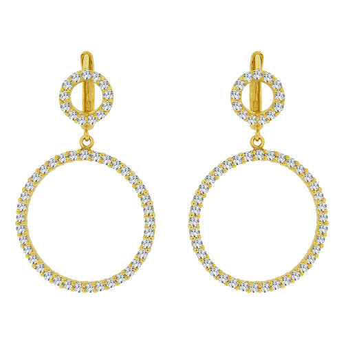 14k Yellow Gold, Dangling Circle of Life Earring Created CZ Crystals (E031-014)