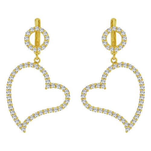 14k Yellow Gold, Dangling Heart Earring Created CZ Crystals (E031-015)
