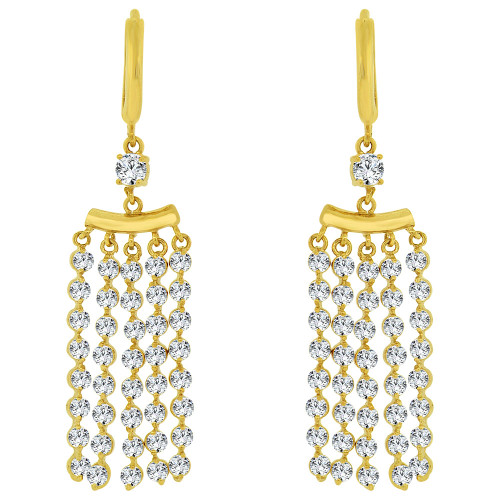 14k Yellow Gold, Dangling Strands of Gold and Stones Earring Created CZ Crystals (E031-016)
