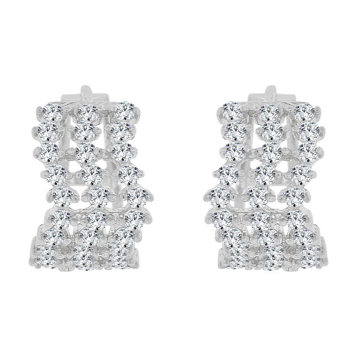 14k Gold White Rhodium, Small Hoop Stud Earring Brilliant Created CZ Crystals (E031-051)