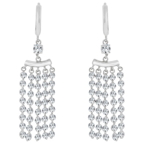 14k Gold White Rhodium, Dangling Strands of Gold and Stones Earring Created CZ Crystals (E031-066)