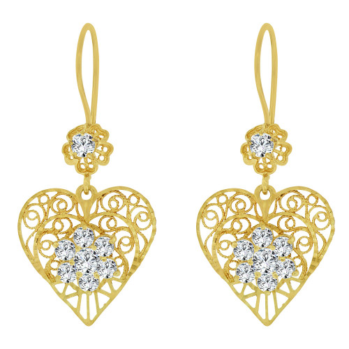 14k Yellow Gold, Fancy Filigree Heart Design Earring Sparkly Diacut and Created CZ Crystals (E031-068)