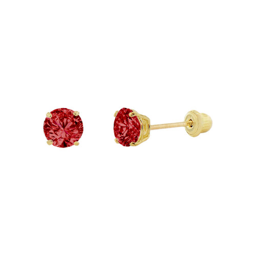 14k Yellow Gold, Tiny Mini 2mm Created Birthstone CZ Crystal Stud Earring Screw Back Jan (E116-001)