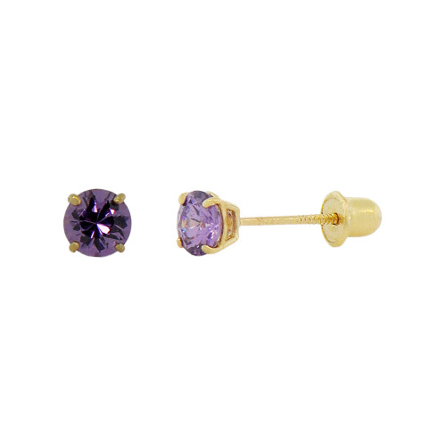 14k Yellow Gold, Tiny Mini 2mm Created Birthstone CZ Crystal Stud Earring Screw Back Feb (E116-002)